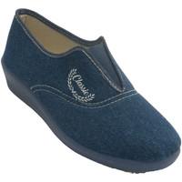 Sapatos Mulher Chinelos Aguas Nuevas Tênis feminino com peito do pé de borrac azul