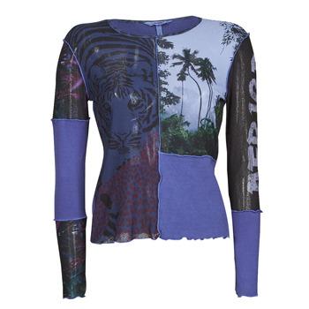 Textil Mulher T-shirt mangas compridas Desigual PATCHAFRICA Azul