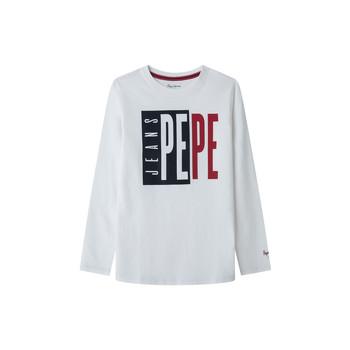 Textil Rapaz T-shirt mangas compridas Pepe jeans AARON Branco