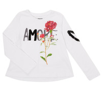 Textil Rapariga T-shirt mangas compridas Desigual FLOR Branco