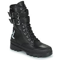 Sapatos Mulher Botas baixas Karl Lagerfeld TREKKA II HI CUFF BUCKLE BOOT Preto