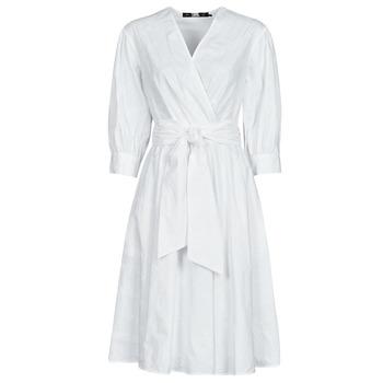 Textil Mulher Vestidos curtos Karl Lagerfeld LOGO EMROIDERED SHIRT DRESS Branco