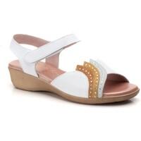 Sapatos Mulher Sandálias Cbp - Conbuenpie Sandalia de piel de mujer by TROPPA (R.ST) Blanc