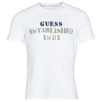 Textil Homem T-Shirt mangas curtas Guess WORKFOR CN SS TEE Branco