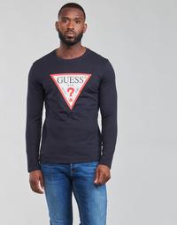 Textil Homem T-shirt mangas compridas Guess CN LS ORIGINAL LOGO TEE Marinho