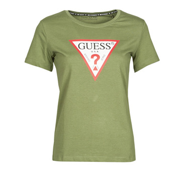 Textil Mulher T-Shirt mangas curtas Guess SS CN ORIGINAL TEE Cáqui