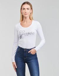Textil Mulher T-shirt mangas compridas Guess LS CN RAISA TEE Branco