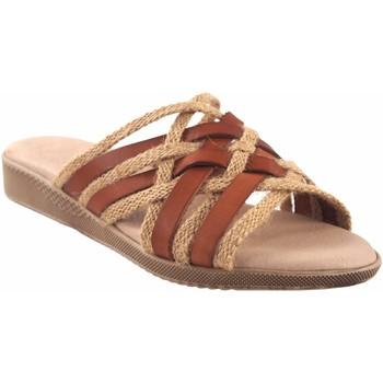 Sapatos Mulher Chinelos Duendy Sandalia señora  3246 cuero Castanho