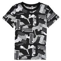 Textil Rapaz T-Shirt mangas curtas Puma ALPHA AOP TEE Preto