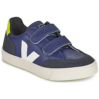 Sapatos Criança Sapatilhas Veja SMALL V-12 VELCRO Azul / Branco