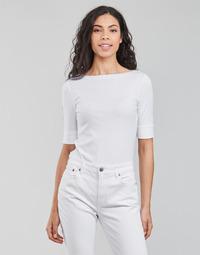 Textil Mulher T-shirt mangas compridas Lauren Ralph Lauren JUDY-ELBOW SLEEVE-KNIT Branco