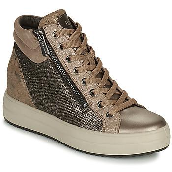 Sapatos Mulher Sapatilhas de cano-alto IgI&CO DONNA SHIRLEY Bege / Ouro