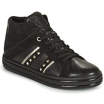 Sapatos Mulher Sapatilhas de cano-alto Geox LEELU Preto / Prata
