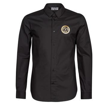 Textil Homem Camisas mangas comprida Versace Jeans Couture SLIM PRINT V EMBLEM GOLD Preto / Ouro