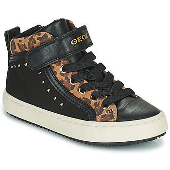 Sapatos Rapariga Sapatilhas de cano-alto Geox KALISPERA Preto / Leopardo