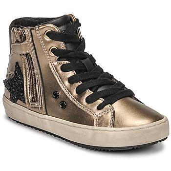 Sapatos Rapariga Sapatilhas de cano-alto Geox KALISPERA Ouro / Preto