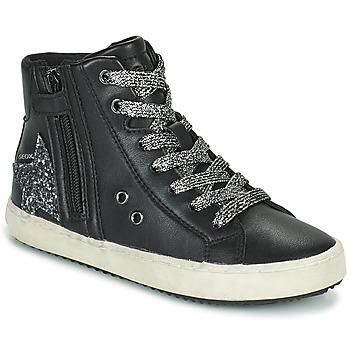 Sapatos Rapariga Sapatilhas de cano-alto Geox KALISPERA Preto / Prateado