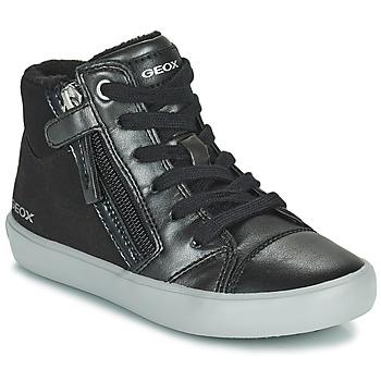 Sapatos Rapariga Sapatilhas de cano-alto Geox GISLI Preto / Prata