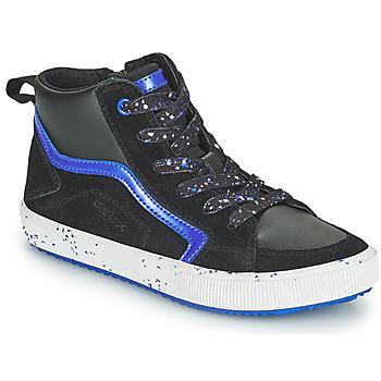 Sapatos Rapaz Sapatilhas de cano-alto Geox ALONISSO Preto / Marinho