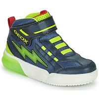 Sapatos Rapaz Sapatilhas de cano-alto Geox GRAYJAY Marinho / Verde
