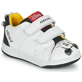 Sapatos Rapaz Sapatilhas Geox NEW FLICK Branco / Preto / Vermelho