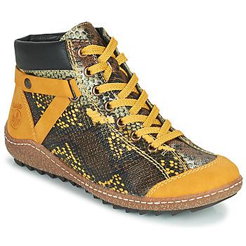Sapatos Mulher Botas baixas Rieker LONGTER Amarelo / Preto