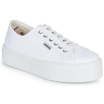 Sapatos Mulher Sapatilhas Victoria BLUCHER LONA PLATAFORMA Branco