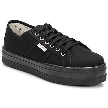 Sapatos Mulher Sapatilhas Victoria BLUCHER LONA PLATAFORMA Preto