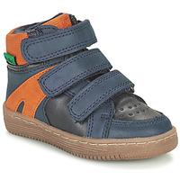 Sapatos Rapaz Botas baixas Kickers LOGGAN Marinho / Laranja