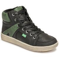 Sapatos Rapaz Sapatilhas de cano-alto Kickers LOWELL Preto / Verde