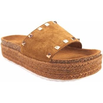 Sapatos Mulher Chinelos Isteria Sandalia señora   21053 cuero Castanho