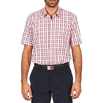 Textil Homem Camisas mangas curtas Pierre Cardin CH MC CARREAU GRAPHIQUE Branco / Vermelho