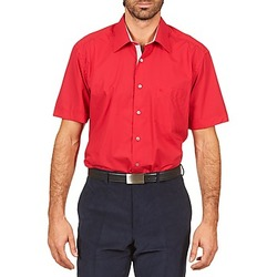 Textil Homem Camisas mangas curtas Pierre Cardin CH MC POPELINE UNIE - OPPO RAYURE INTERIEUR COL & POIGNET Rosa / Vermelho