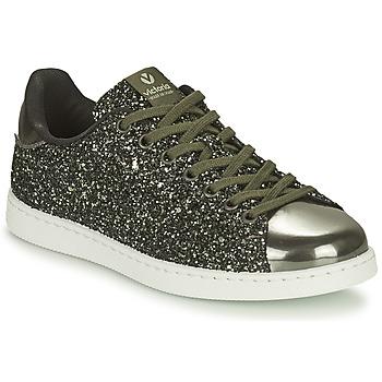 Sapatos Mulher Sapatilhas Victoria TENIS GLITTER Preto / Prata