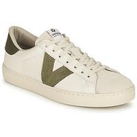 Sapatos Mulher Sapatilhas Victoria BERLIN PIEL CONTRASTE Branco / Cáqui