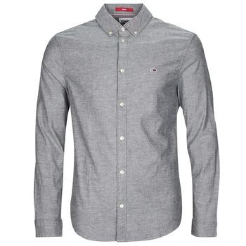 Textil Homem Camisas mangas comprida Tommy Jeans TJM STRETCH OXFORD SHIRT Preto