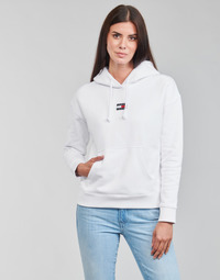 Textil Mulher Sweats Tommy Jeans TJW TOMMY CENTER BADGE HOODIE Branco
