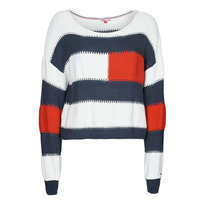 Textil Mulher camisolas Tommy Jeans TJW  RWB STRIPE SWEATER Azul / Branco / Vermelho