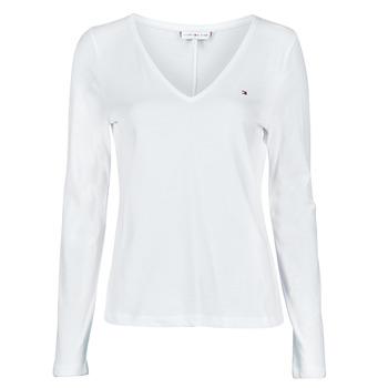 Textil Mulher T-shirt mangas compridas Tommy Hilfiger REGULAR CLASSIC V-NK TOP LS Branco