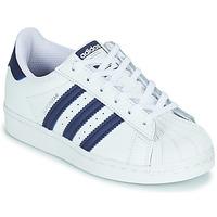 Sapatos Criança Sapatilhas adidas Originals SUPERSTAR C Branco / Azul