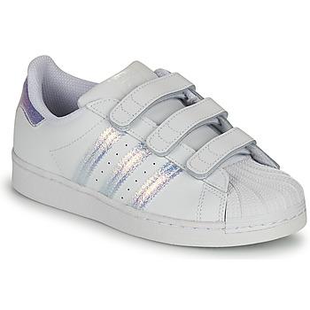 Sapatos Criança Sapatilhas adidas Originals SUPERSTAR CF C Branco / Prateado