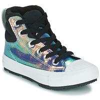 Sapatos Rapariga Sapatilhas de cano-alto Converse CHUCK TAYLOR ALL STAR BERKSHIRE BOOT IRIDESCENT LEATHER HI Preto / Brilhante