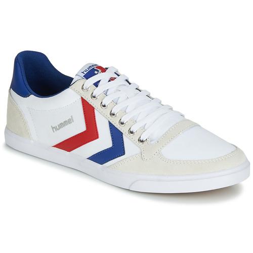 Sapatos Homem Sapatilhas Hummel TEN STAR LOW CANVAS Branco / Vermelho / Azul
