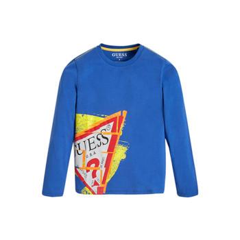 Textil Rapaz T-shirt mangas compridas Guess LISTIN Azul