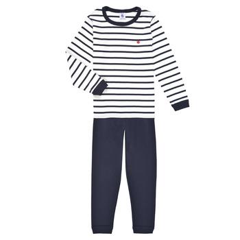Textil Rapaz Pijamas / Camisas de dormir Petit Bateau TECHI Branco / Azul