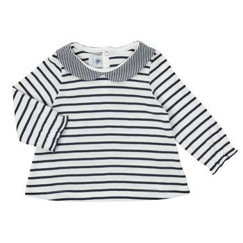 Textil Rapariga T-shirt mangas compridas Petit Bateau HOLINU Branco / Azul