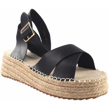 Sapatos Mulher Alpargatas Olivina Sandália de senhora BEBY 19051 preta Preto