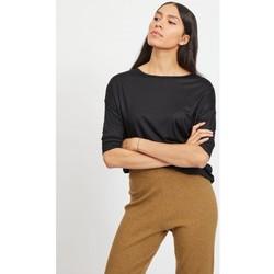 Textil Mulher Tops / Blusas Vila Scoop O-Neck 3/4 Sleeved Top Noos Black Preto