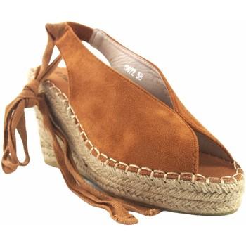 Sapatos Mulher Alpargatas Olivina Sandália de senhora BEBY 19072 em couro Castanho