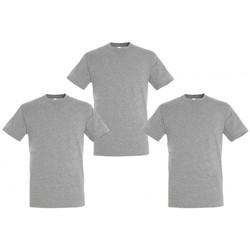 Textil T-Shirt mangas curtas Sols PACK 3 CAMISETAS GRISES COTTON Gris